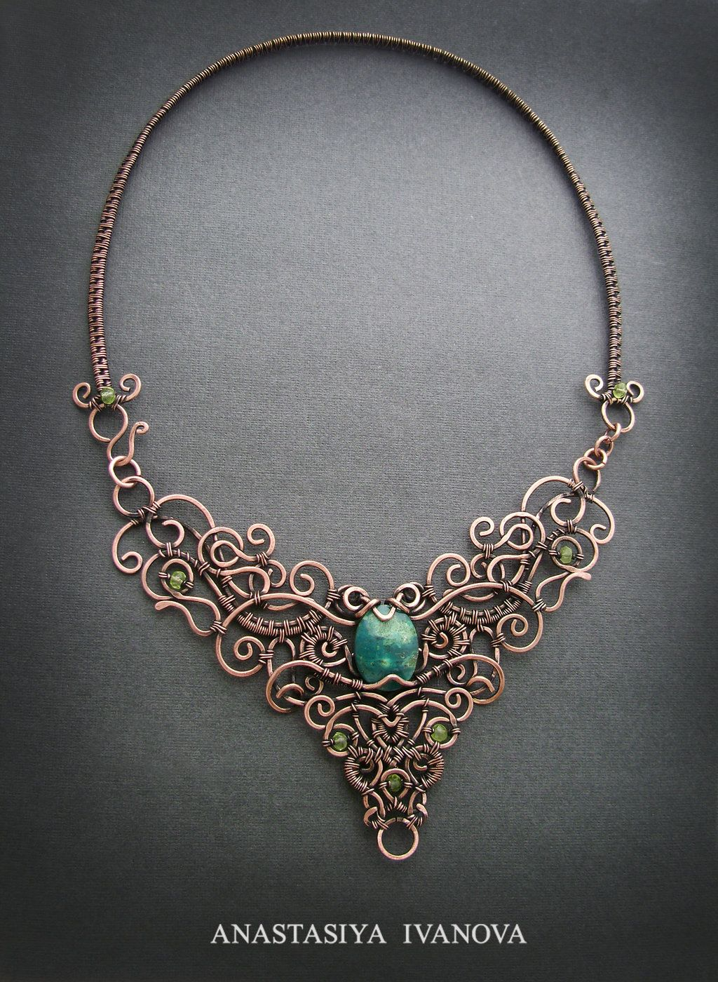 necklace with chrysocolla by nastya-iv83.deviantart.com on @DeviantArt