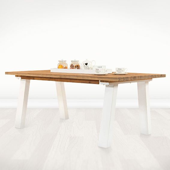 Ember Acacia Wood Dining Table Lightly Distressed And