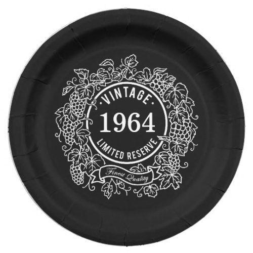 Vintage Grapevine Wine St& Add Birth Year Paper Plate  sc 1 st  Pinterest & Vintage Grapevine Wine Stamp Add Birth Year Paper Plate | Party ...