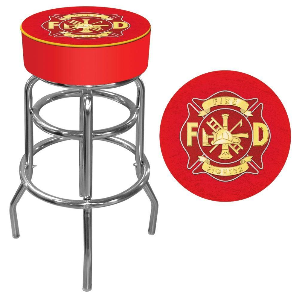 Trademark Fire Fighter 31 In Chrome Swivel Cushioned Bar Stool Grey Padded Bar Stools Bar Stools With Backs Bar Stools