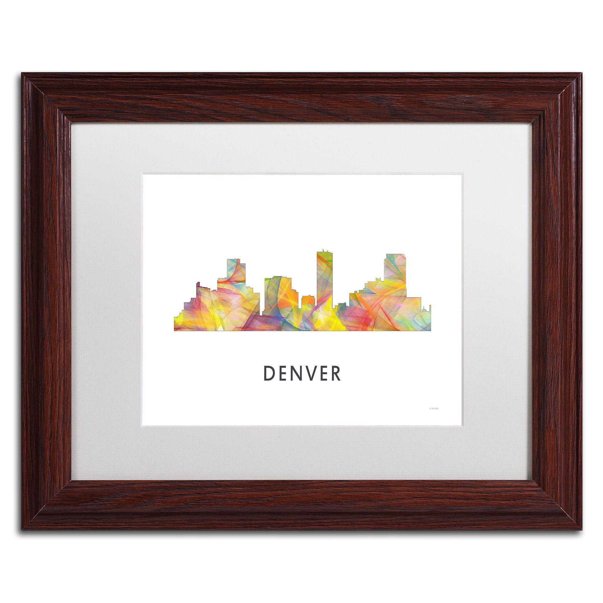 Trademark Marlene Watson 'Denver Colorado Skyline WB-1' Matted Framed Art