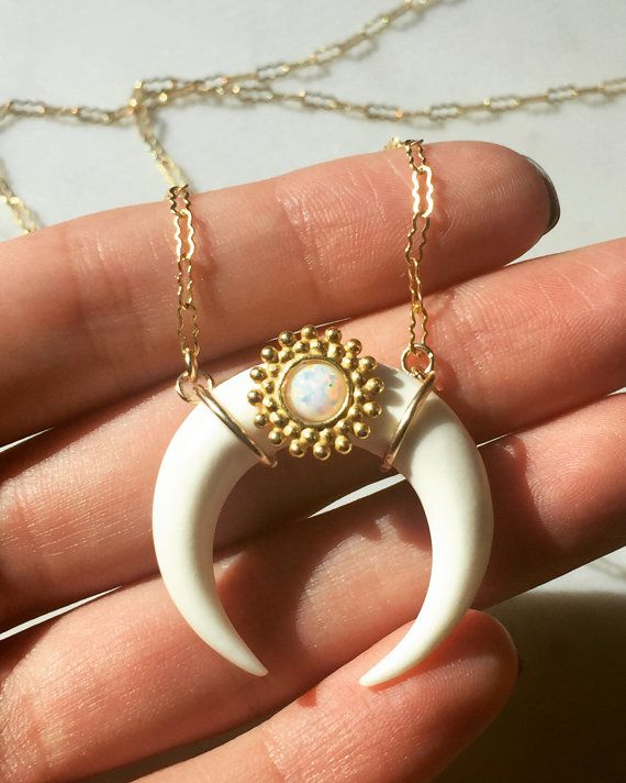 Cosimia Double Horn Crescent Moon Necklace with white fire