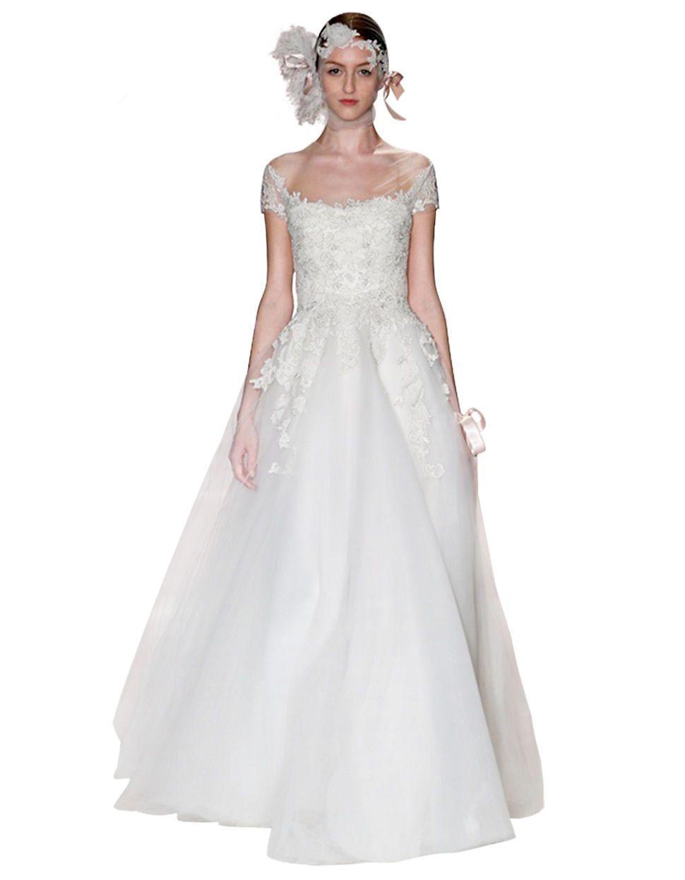 Isla cap sleeve aline gown by reem acra hudsonus bay wedding