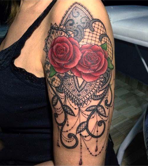 Upper Arm Tattoo Woman: Kadın üst Kol Dantel Dövmesi Woman Upper Arm Lace Tattoo