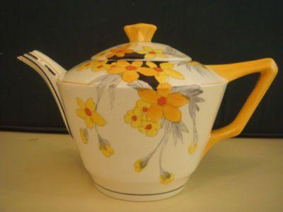 England. Orange Tree Pattern Teapot 1930s  China Teapot Art Deco Teapot