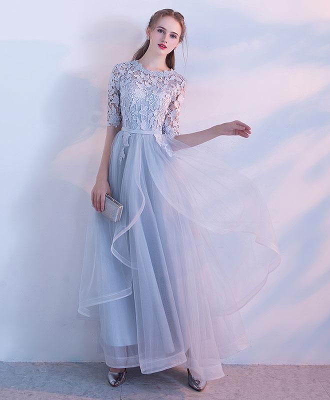 Photo of Simple lace tulle gray long prom dress, gray tulle lace evening dress