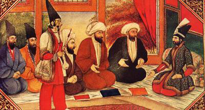 Persian court with King and mulla's wearing aba's.