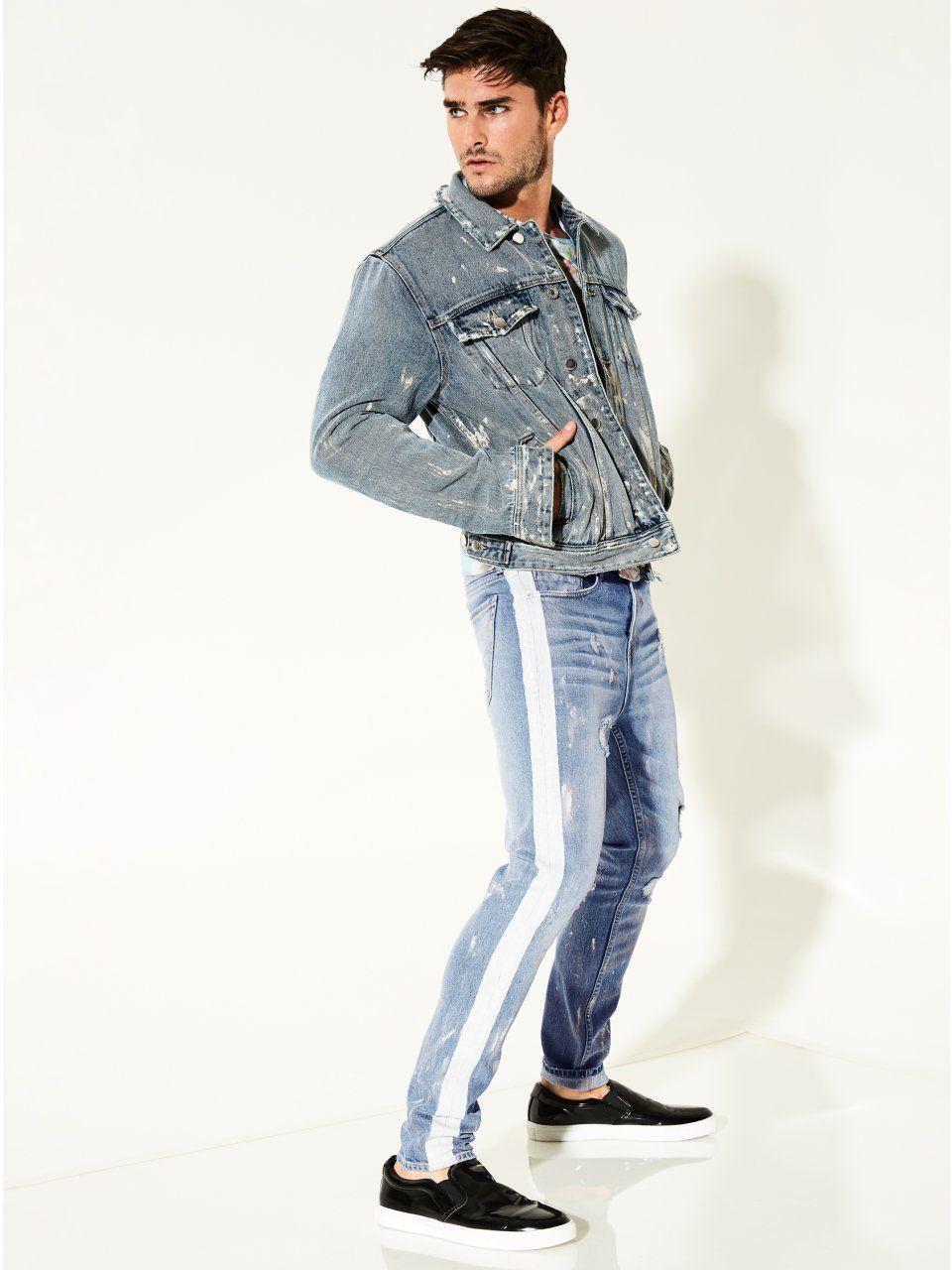 1941784599617 Jay Striped-Trim Skinny Jeans