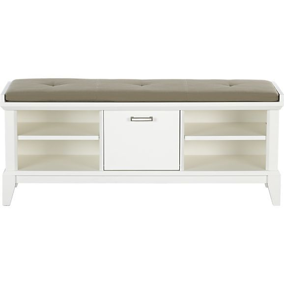 Paterson White Bench With Wheat Cushion In Storage Benches | Crate And  Barrel $398.95
