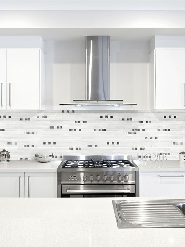 Pure White Marble Kitchen Backsplash Tile With Metal And Dark Marble Inserts  From Backsplash.com