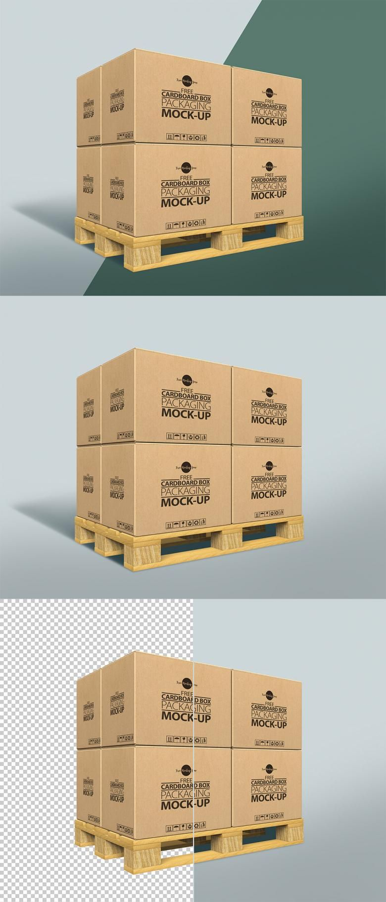 Download Free Cardboard Boxes On A Pallet Mockup Design Mockup Free Cardboard Box Cardboard