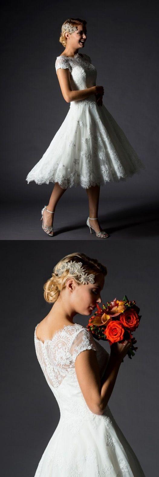 Wedding dresses tea length  vintage lace overlay organza tea length wedding dress  Wedding