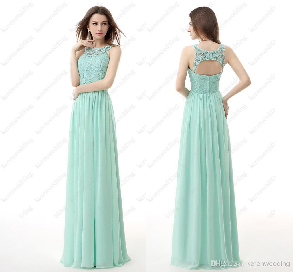 Wholesale In Stock Mint Green Chiffon Bridesmaid Dress 2014 Summer ...