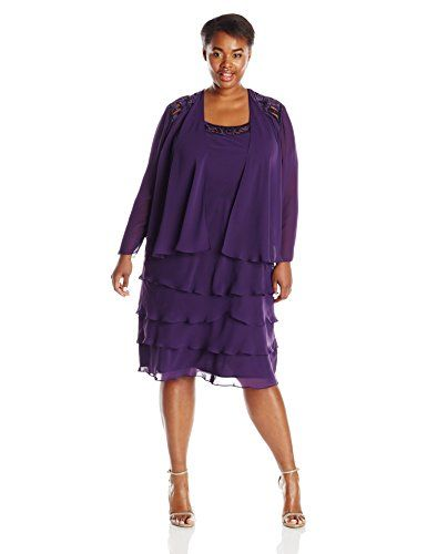 S.L. Fashions Women's Plus-Size Tiered Embellished Jacket Dress, Eggplant, 14W S.L. Fashions http://www.amazon.com/dp/B00WJ3D2T2/ref=cm_sw_r_pi_dp_Ha82vb1HKQJV5