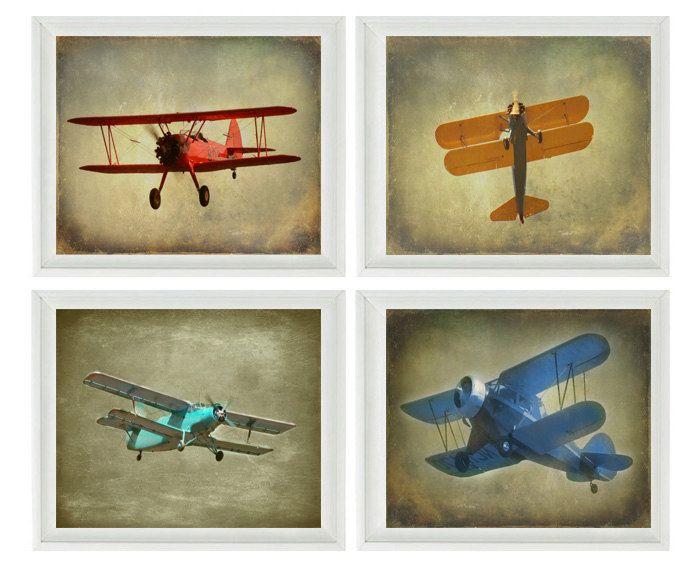 Vintage Airplane Wall Art vintage airplane art - baby boy nursery wall art , big boy room