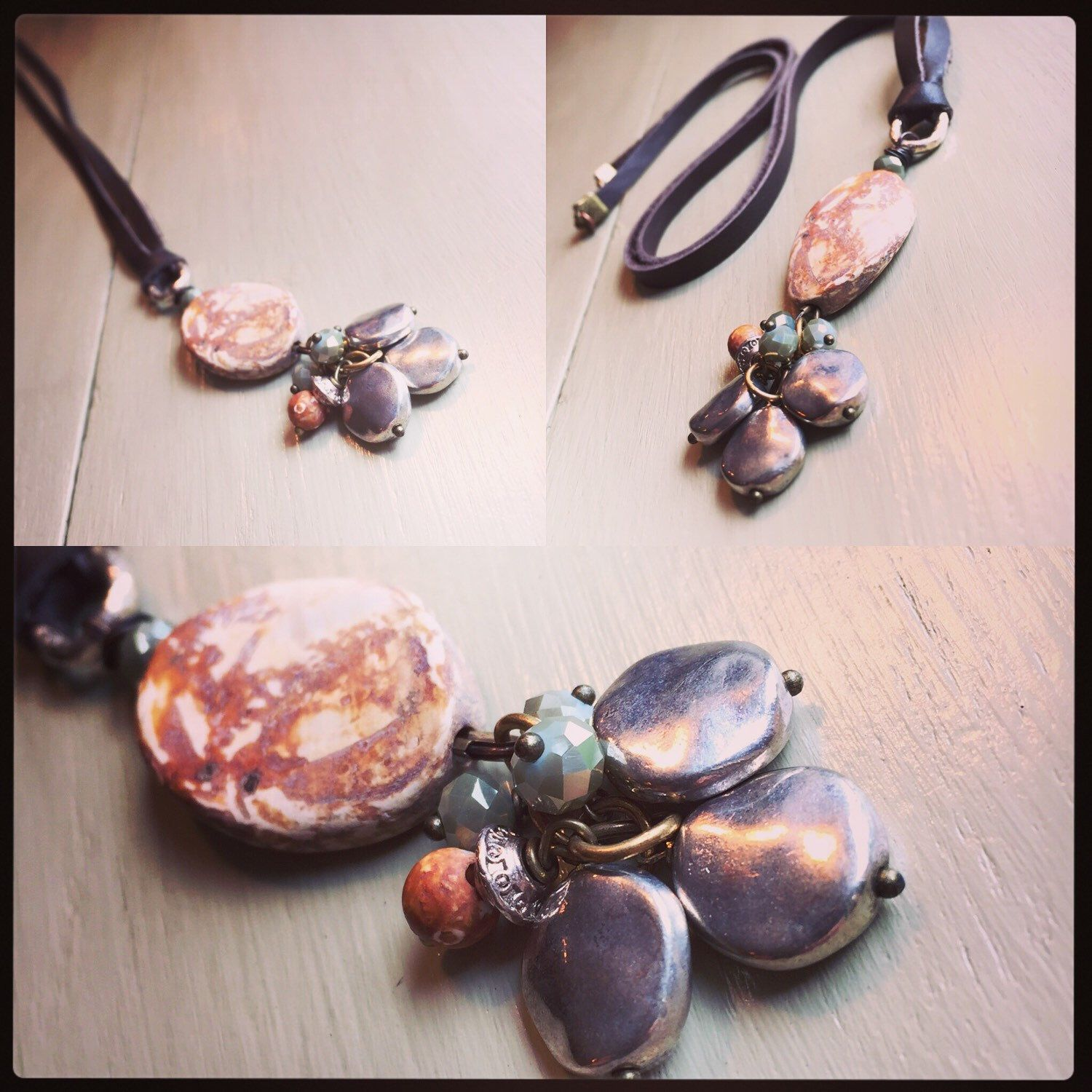Agate Beaded Leather Necklace