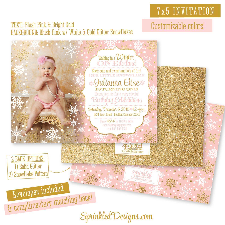 Winter ONEderland Invitation Girl Photo Card by SprinkledDesign ...
