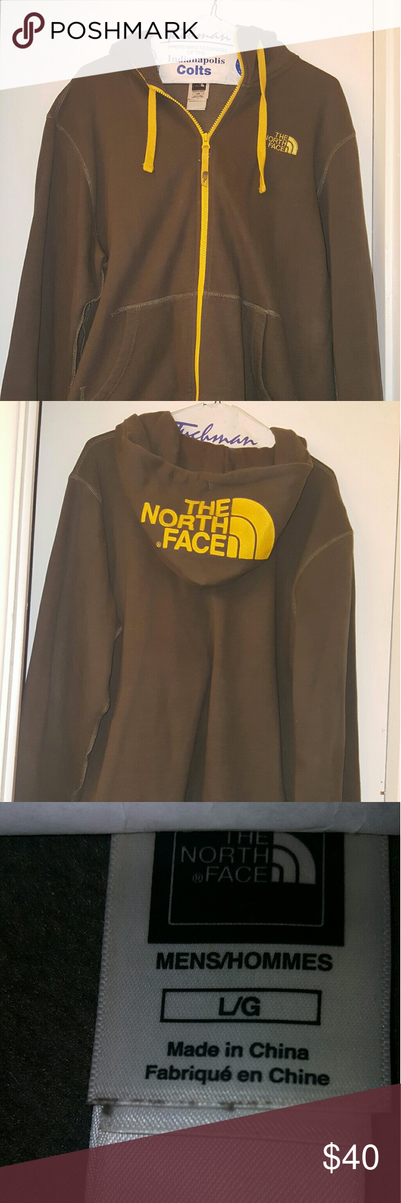 North face full zip hoodie Green/yellow size large (L) MEN'S full zip north face hoodie ... Excellent condition North Face Sweaters Zip Up