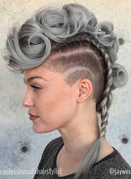 Gray Braided Mohawk Hair Styles Hair Collection Braided Hairstyles