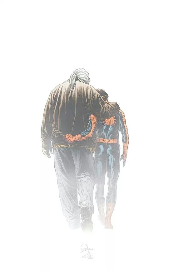 Amazing Spiderman Ultimate Spiderman And Uncle Ben In Heaven Ultimate Spiderman Spiderman Marvel Spiderman