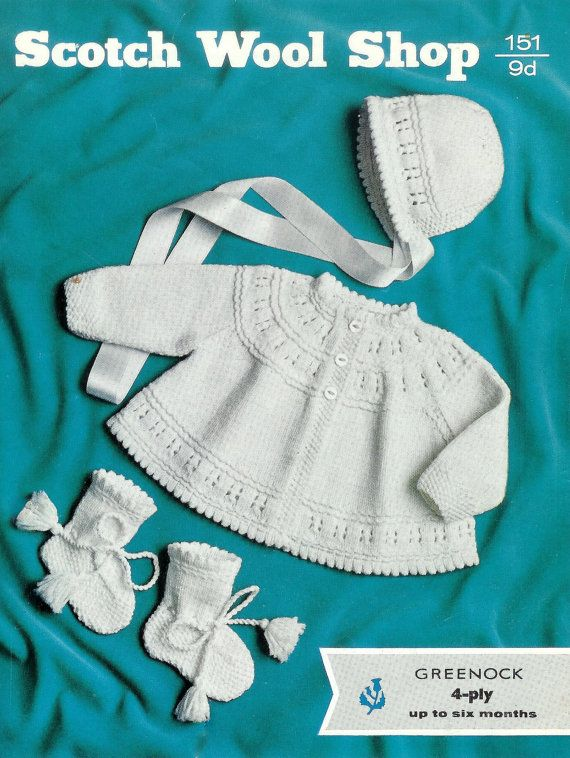 Baby 4ply Matinee Jacket Bonnet and Bootees 17-19ins - Scotch Wool ...