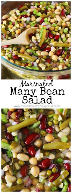 Marinated Many Bean Salad ~ a great easy salad for the family or for serving a crowd!  Perfect for cookouts, potlucks, or as an everyday side.  www.thekitchenismyplayground.com