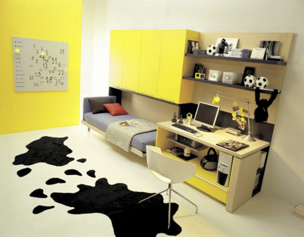 Perfect Teen Girls Room With Yellow Wall Paint Color And White Study ...