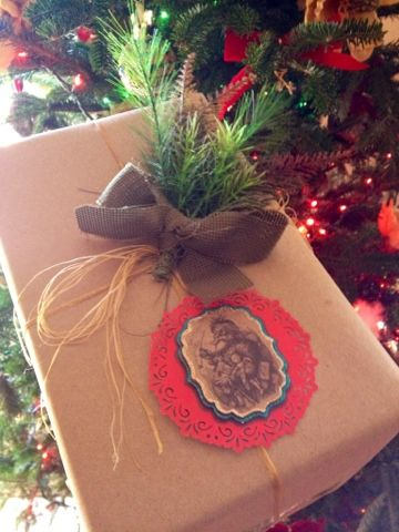 Christmas Wrapping: brown butcher paper, embellishments, and upcycled  Christmas tags