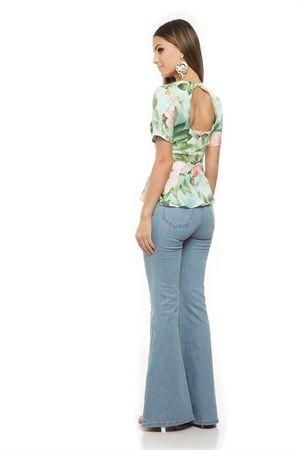 Blusa Decote Costas Babado Estampa Rosas - sale-blusa-decote-costas-babado-estampa-rosas Iorane