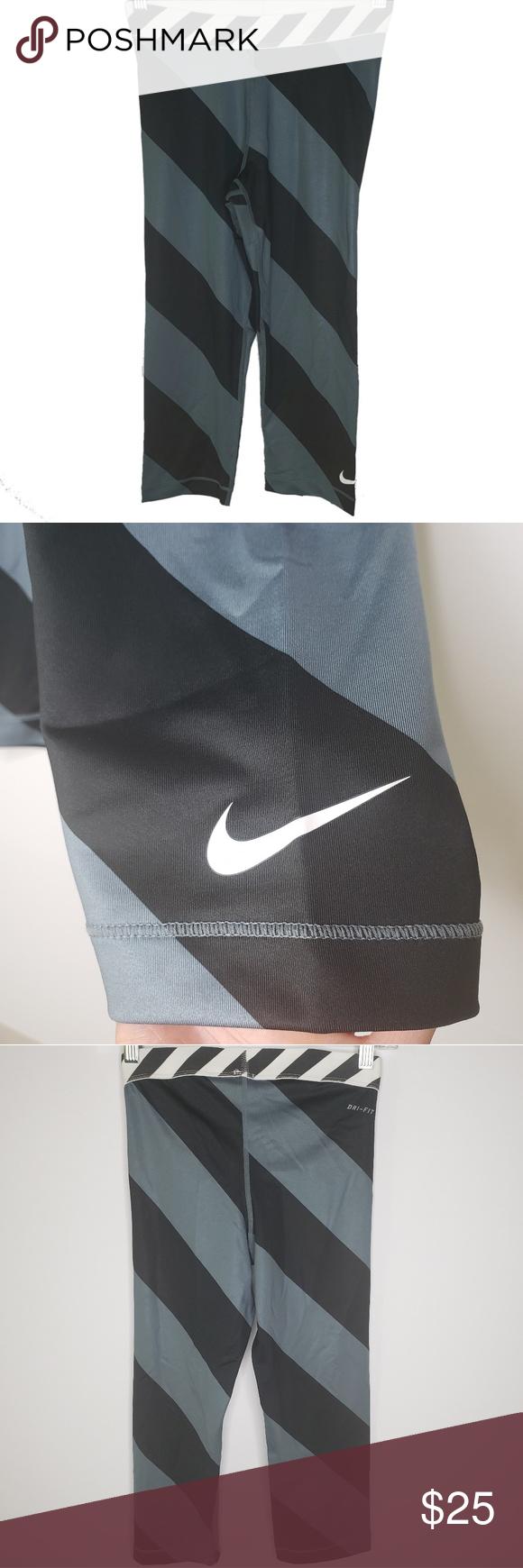 🖤 NIKE PRO 🖤 DRI FIT STRIPED CAPRI LEGGINGS | Clothes ...