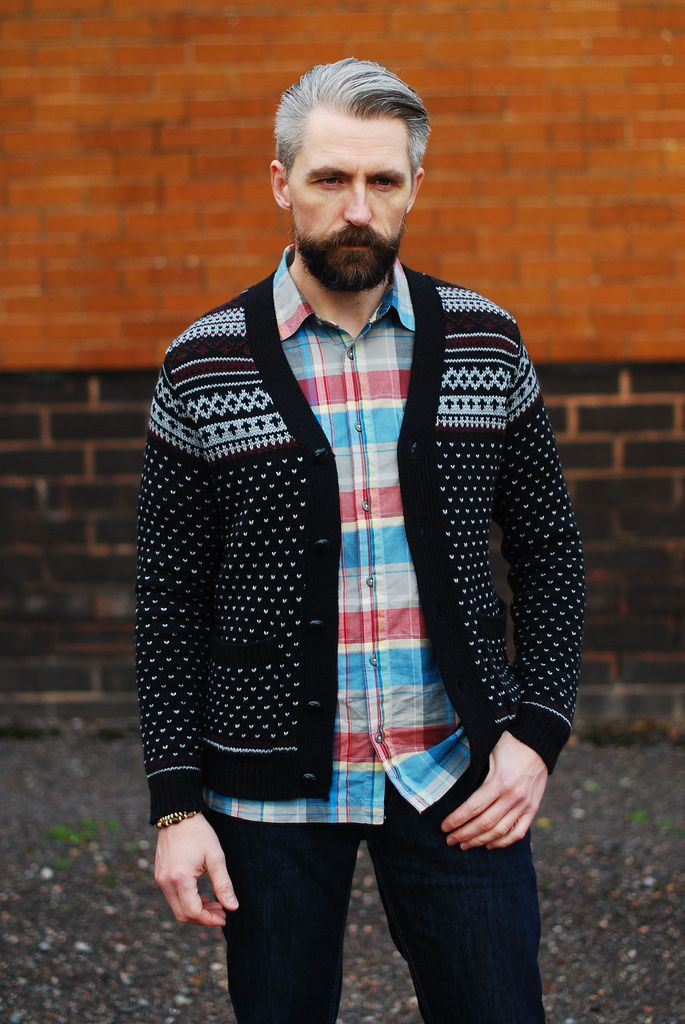 Menswear: Fair Isle cardigan, check shirt and jeans | Men's ...