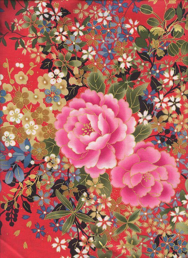 Floral Bouquet: Crimson Red/Gold Metallic (BTY) Asian Quilt Fabric ... : metallic quilting fabric - Adamdwight.com