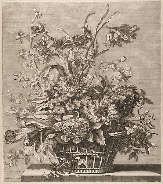 jean baptiste monnoyer french 1636 1699 basket of flowers from the book of several baskets. Black Bedroom Furniture Sets. Home Design Ideas