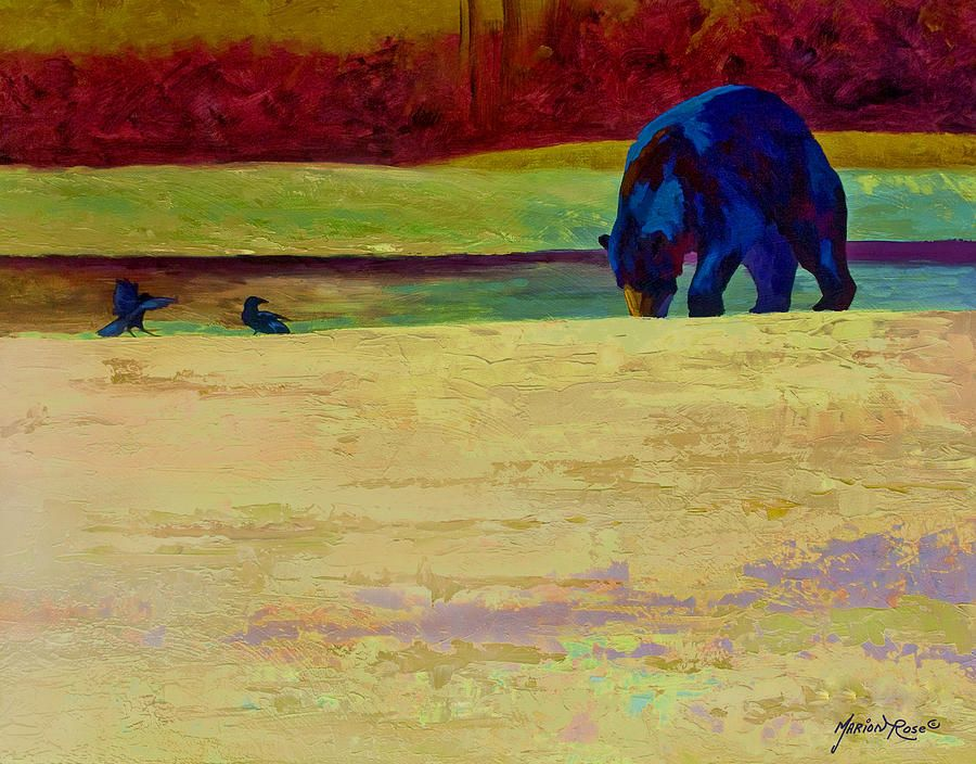 Foraging At Neets Bay - Black Bear Painting by Marion Rose | Marion ...