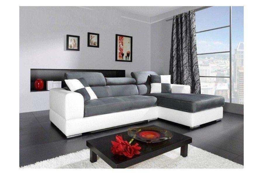 beau canapé d angle blanc et gris | Décoration française | Pinterest