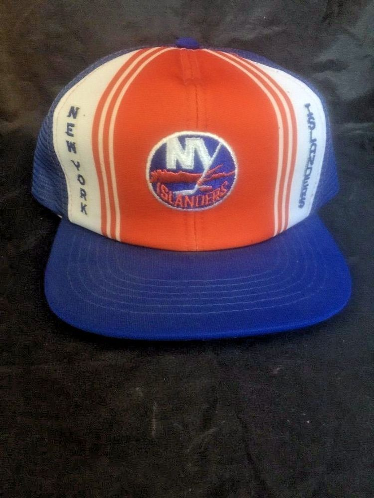 premium selection d0694 54dbe Vintage New York Islanders Trucker Cap Hat Snap Mesh Back Foam Retro NHL  Hockey…