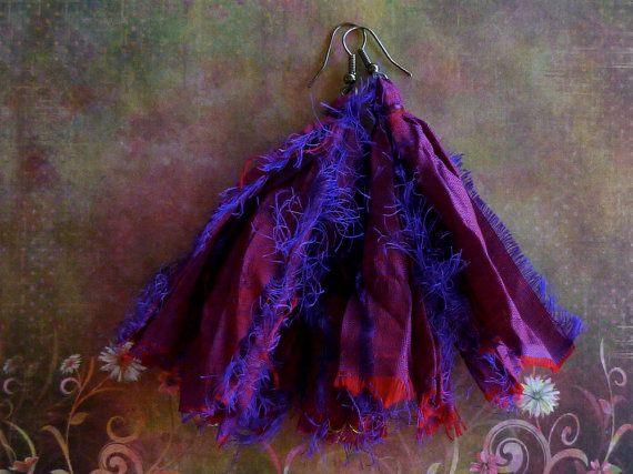 Sari Silk Earrings Boho Gypsy Bohemian Jewelry by GypsyInMyBlood