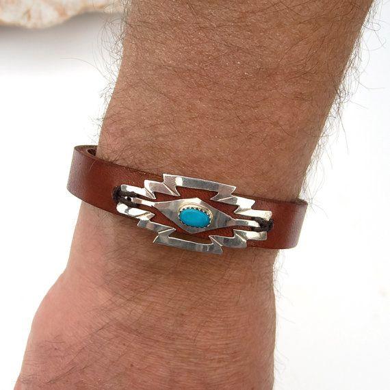 Mens Navajo bracelet Sterling Silver Turquoise NAVAJO bracelet