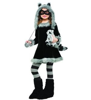 young lady's racoon costume