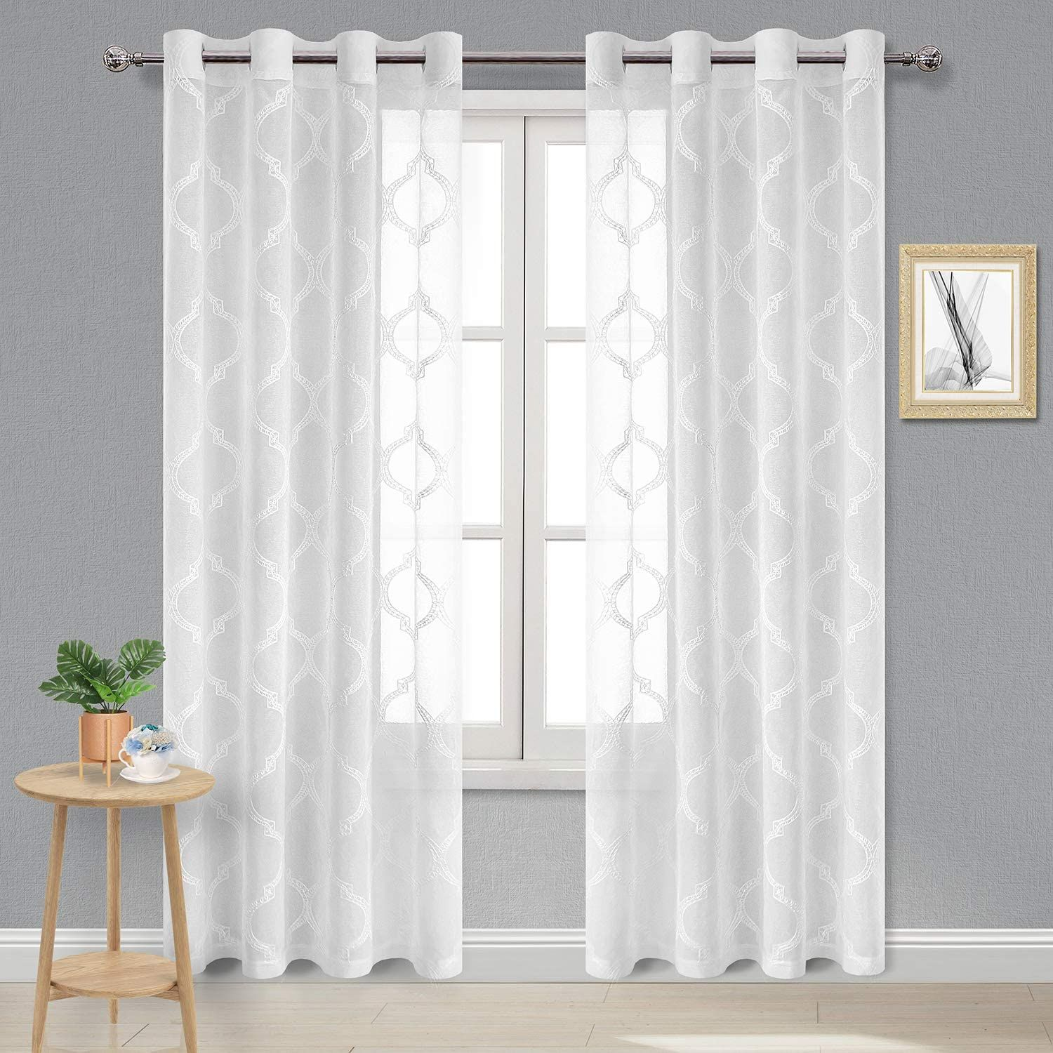 Amazon Com Dwcn Sheer Curtains Moroccan Tile Embroidered