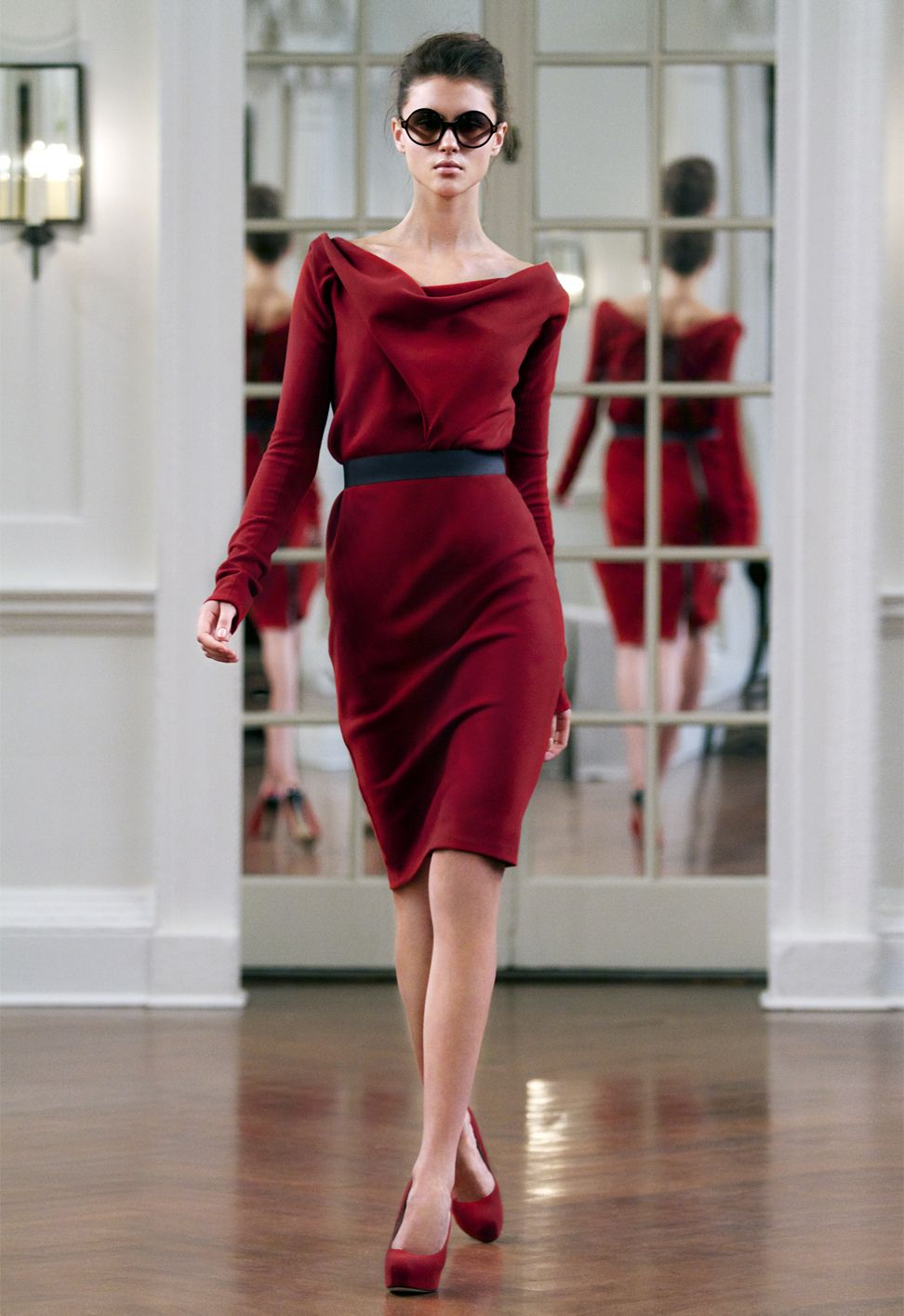 victoria beckham - drape neck shift dress aw/10: blood red wool