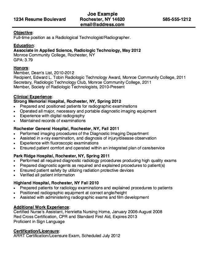 Resume for Radiologic Technologist - http://resumesdesign.com/resume ...
