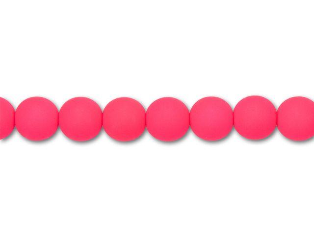 czech glass 10mm neon pink round bead strand