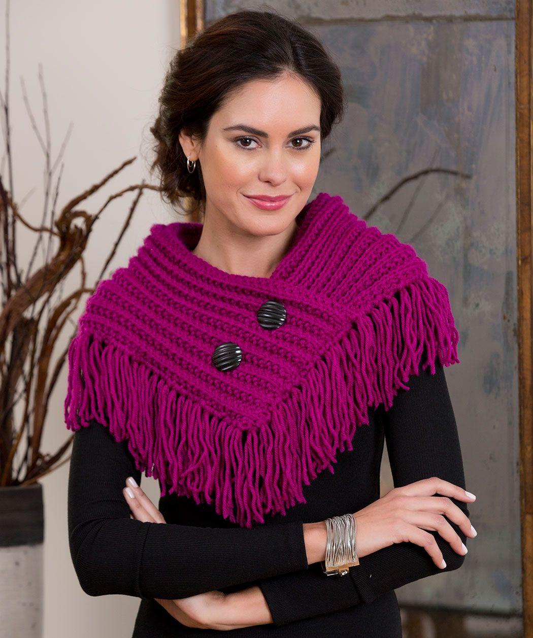 fringed cowl knitting pattern knit redheartyarns handarbeit stricken pinterest schals. Black Bedroom Furniture Sets. Home Design Ideas