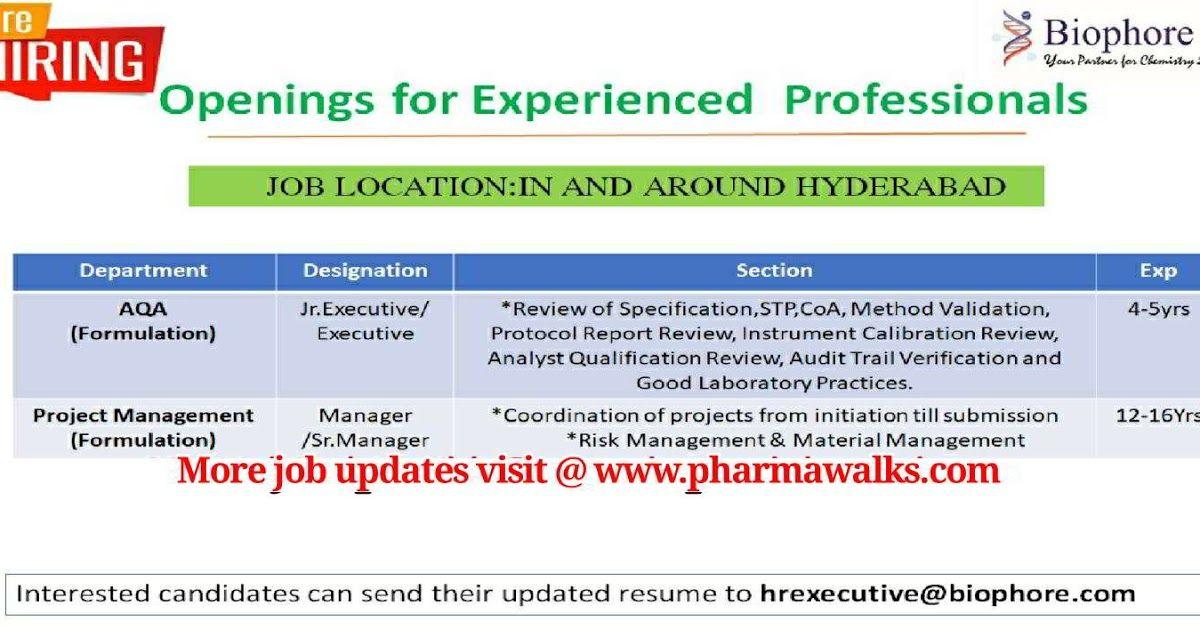 Biophore India urgent hiring for AQA & Project Management