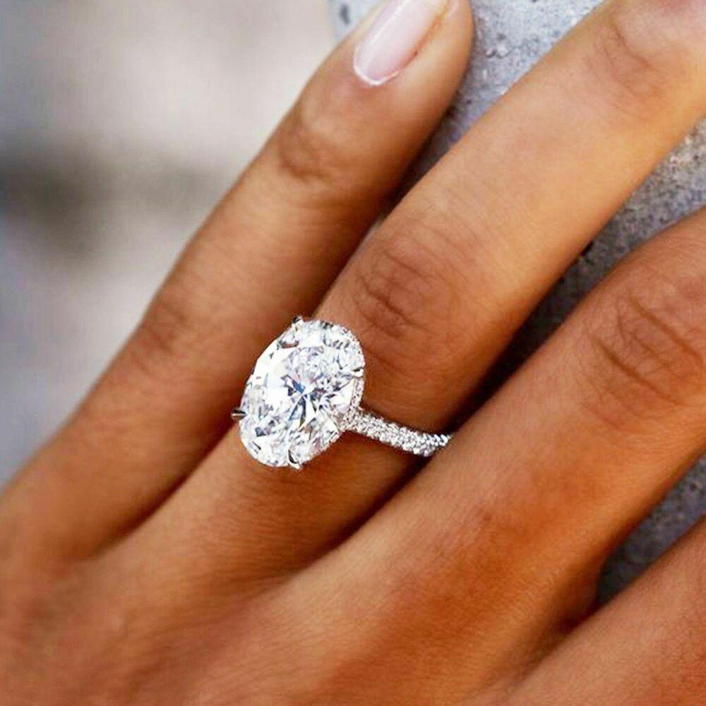 200 ct oval halo diamond womens engagement wedding ring