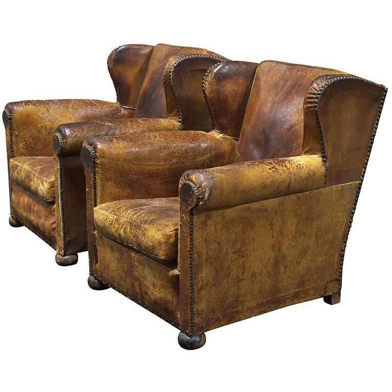 Pair Of 19th Century English Leather Wingback Chairs England Circa  1880 1890 Pair Of Oversized Leather Wingback Chairs With Original Wood Ball  Feet, ...