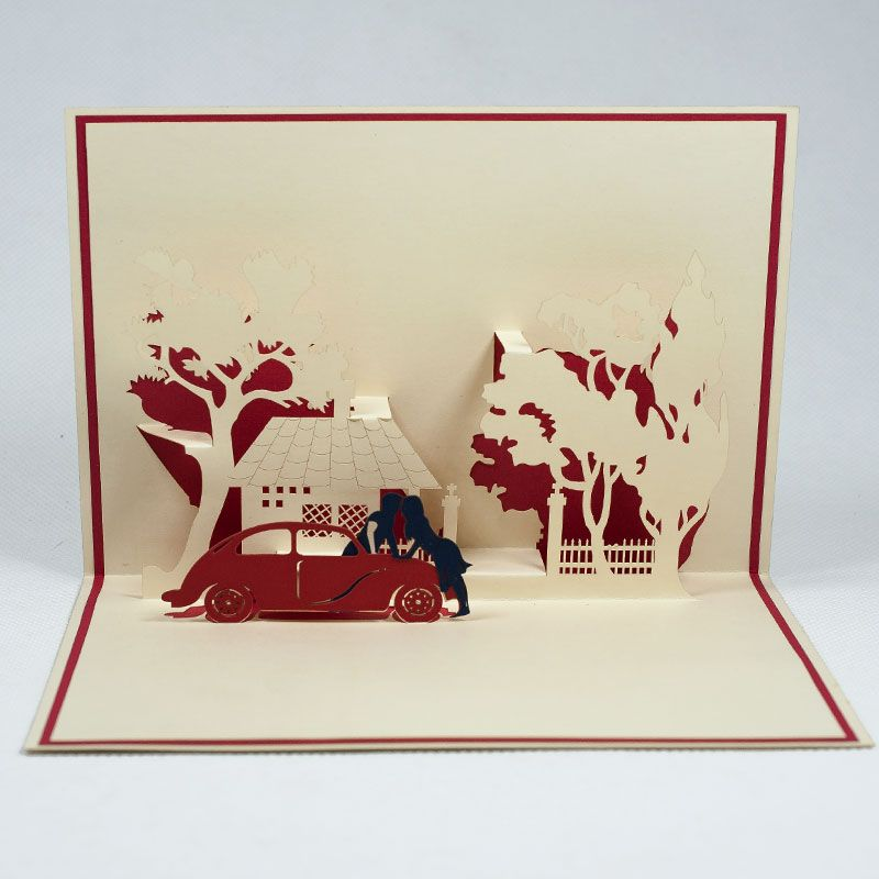 pop up card for wedding lv033 couple car 3d card for love 3d