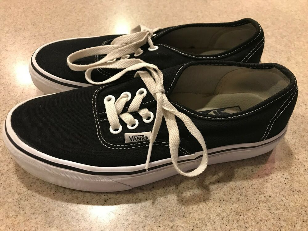 Vans Authentic Classic Black White Shoe Unisex Canvas Sneakers Men ... 5418cfb17