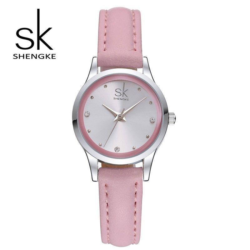 ed8544f16 nice SK Women Pink Leather Band Watch Fashion Elegant Rhinestone Girl  Wristwatch Waterproof Strap Ladies Quartz Watch Montre Femme